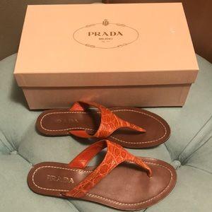 Prada 37.5 Papaya Orange Thongs